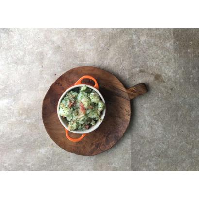Purée de pommes de terre au pamplemousse & vinaigrette à l'aneth