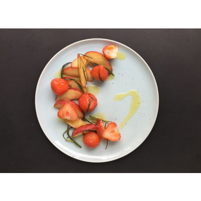 Nectarine et fraises rôties