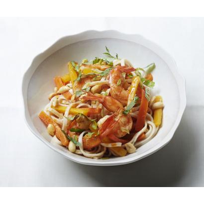Tagliatelles asiatiques, crevettes pimentées, balsamique à la pomme & huile au piment