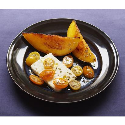 Feta et mangue, balsamique blanc et huile au basilic