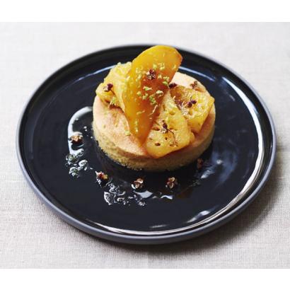 Sablés bretons, fruits exotiques sautés, balsamique à la Mangue & huile au citron pressé vert