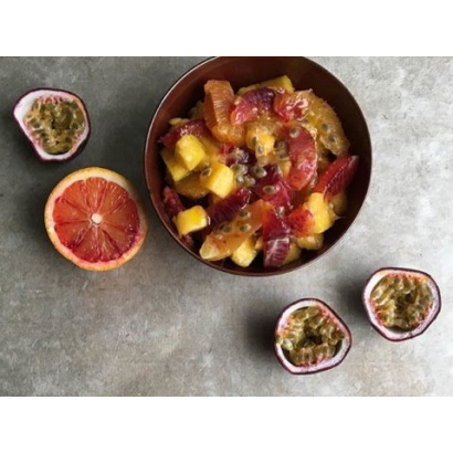 Salade de fruits exotiques au balsamique à l'orange sanguine