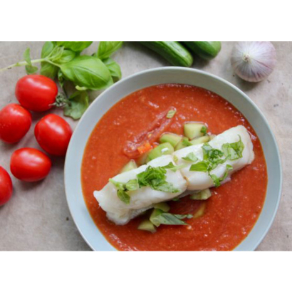 Gazpacho with white fish