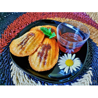 Madeleines filled with strawberry & mint jam
