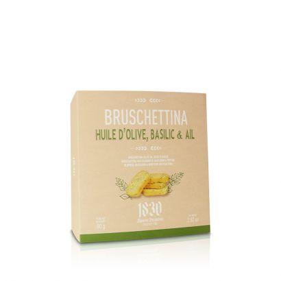 Bruschettina à l'huile d'olive, basilic & ail