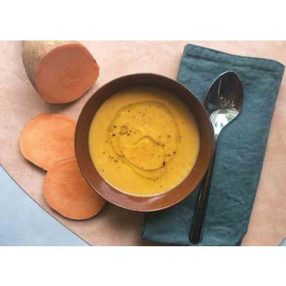 Soupe à la crème de marrons, patate douce & huile d'olive à la truffe