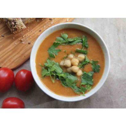 Soupe de lentilles aux tomates et pois chiches